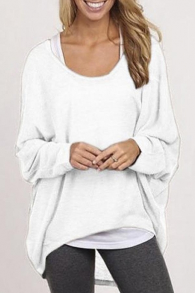 Shirts Shoulder Casual Long Sleeve Off Tops Sexy Baggy Oversized Womens xRHw7Aqq