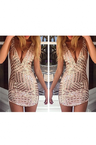 Womens Sexy Plunging V Neck Sleeveless Sequin Bodycon Halter Mini Clubwear Dress