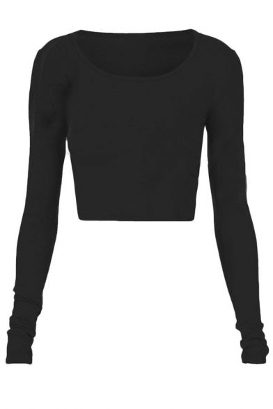 Fashion Womens Long Sleeve Crop Top Round Neck T Shirt Blouse