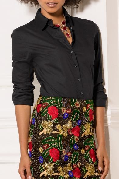 Women Fasional Slim Shirt V Neck Long Sleeve Button-down Blouse