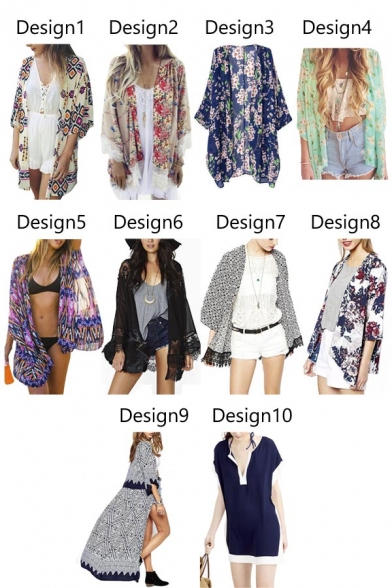 Women Flowy Sheer Crop Sleeves Loose Chiffon Kimono Cardigan ...