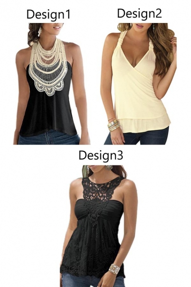 a6a257e32a64a8 ... Women Lace Floral Sleeveless Halter Backless Vest Top Blouse ...