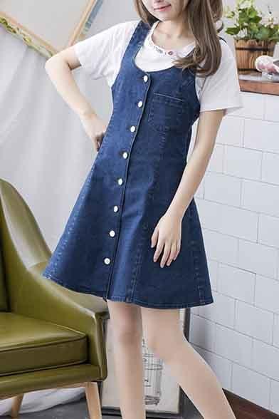 4ce7529d3a Simple Design Button Down Denim A-Line Mini Dress - Beautifulhalo.com