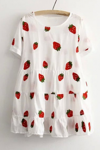 Sweet Strawberry Print Short Sleeve Round Neck Ruffle Dress