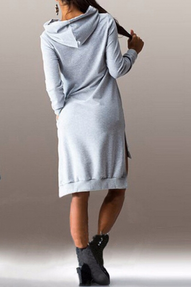 Fashion Women's Summer Casual Long Sleeve Hooded Dress