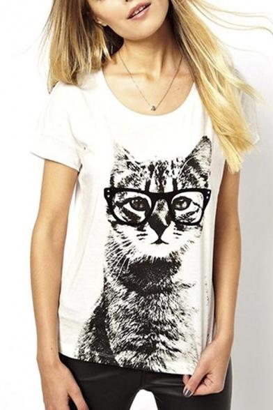 6e5e0f37f Retro Lady CrewNeck Short Sleeve T-Shirt Cute Cat Print Loose Tops -  Beautifulhalo.com