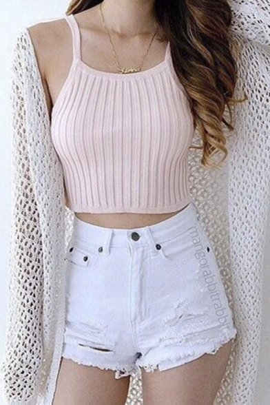 847c0611663 Thick Cable Rib Knit 90s Inspired Tank Top (Crop Waist Style)