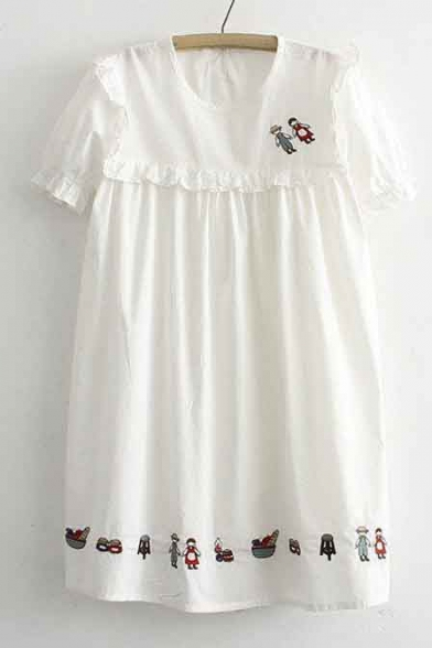 Simple Fashion Short Sleeve Plain Ruffle Shift Casual Dress
