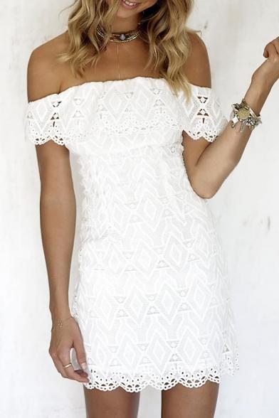 Sexy Off the Shoulder Sheath Mini Lace Dress in White