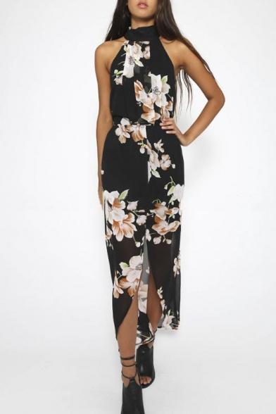 Summer Floral Print Split Front Chiffon Maxi Dress