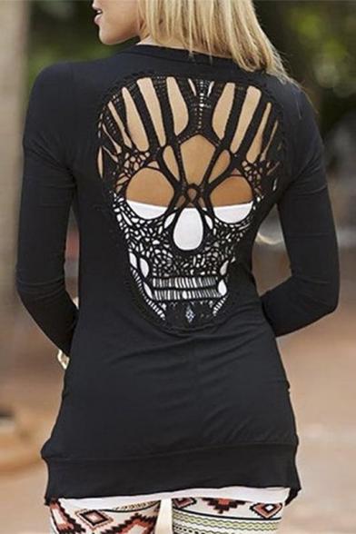 Trendy Cut Out Skull Shape Back Long Sleeve Cardigan