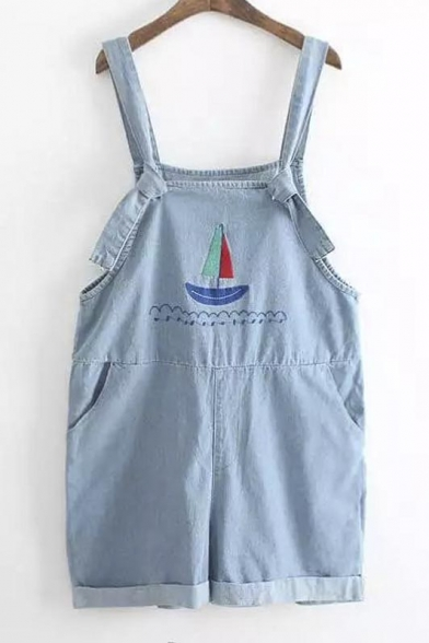 Casual Funny Sailing Ship Embroidery Denim Overall Shorts