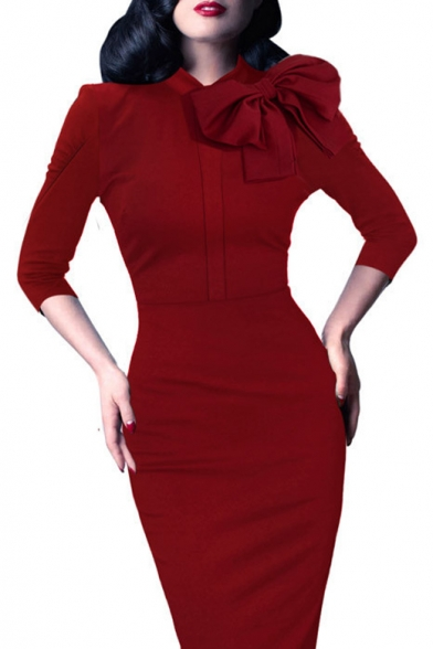 Cocktail 4 Pencil 1950s Work 3 Bow Dress Retro Party Sleeve Dress Women's Evening PYtRwq