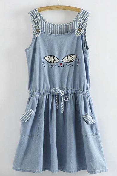 Kawaii Cat's Eyes Pattern Denim A-Line Dress