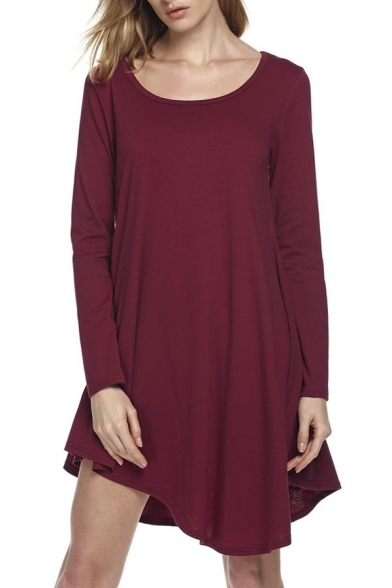 Women's Casual Loose Fit T-Shirt Tunic High Low Hem Dress