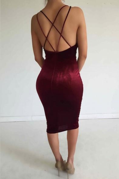 Club Sleeveless Dress Women's Dress Midi Bodycon Velvet Bandage 4xFXRw