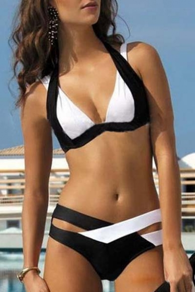Best Seller Sexy Halter Color Block Bikini Swimwear