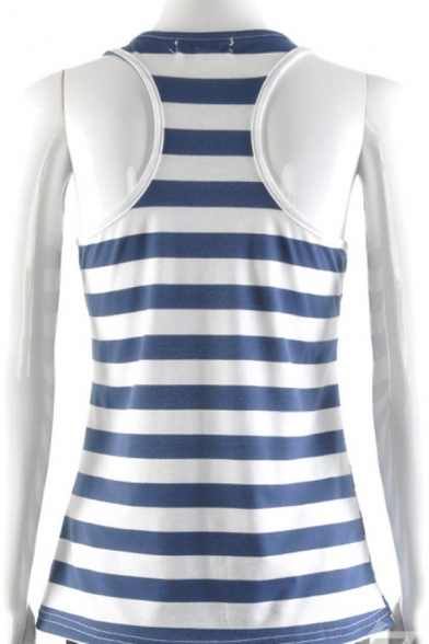 Tank Racerback Striped Sleeveless Anchor Women's Beach Top Sequins wvgC4Wq8