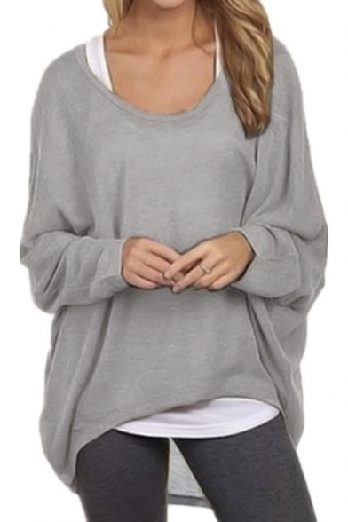 Shoulder Long Tops Shirts Casual Baggy Womens Sexy Off Sleeve Oversized q8zg6xSwWX