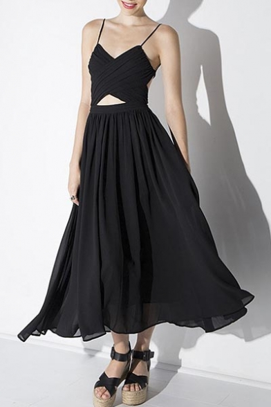 Spaghetti Straps Cut Out Front A-Line Swing Chiffon Maxi Dress