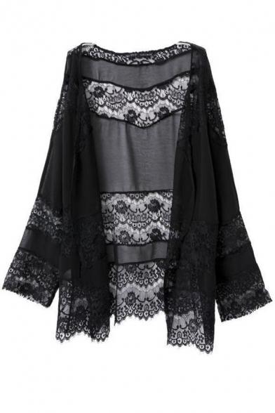 Women Flowy Sheer Crop Sleeves Loose Chiffon Kimono Cardigan ...