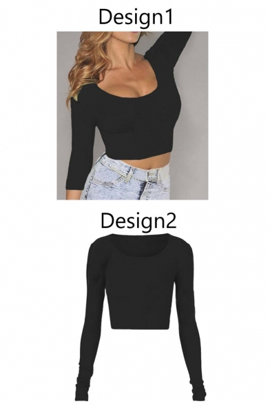 Crop Fitted Sleeve Long Top Women's wzOY6qq