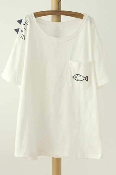 amp;Fish Short Round Print Graphic Neck Comfortable Tee amp;Top Cat Sleeve Style 550aqr