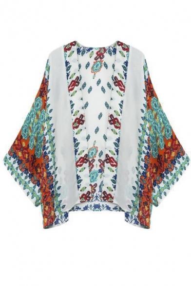 Women Floral Chiffon Shawl Kimono Cover Up Jackets