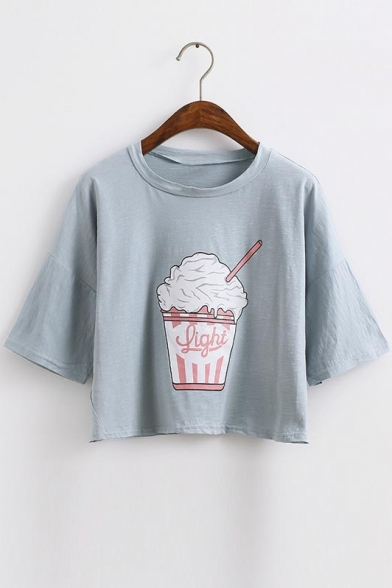 Loose Fit Ice Cream Print Round Neck Crop Top