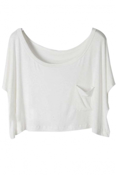cd1f0cdc21a Women Basic Solid Loose Summer Blouse Crop Tops - Beautifulhalo.com