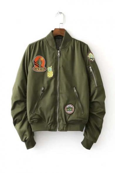 Cool Girl Pineapple Pattern Zip Detail Bomber Jacket