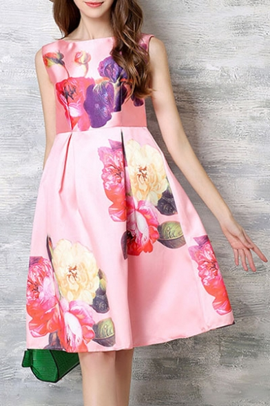 Chic Boat Neck Sleeveless Floral Print A-Line Midi Lady's Dress