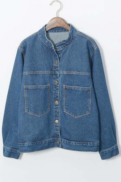 Stand Up Button Down Long Sleeve Double Pockets Denim Coat