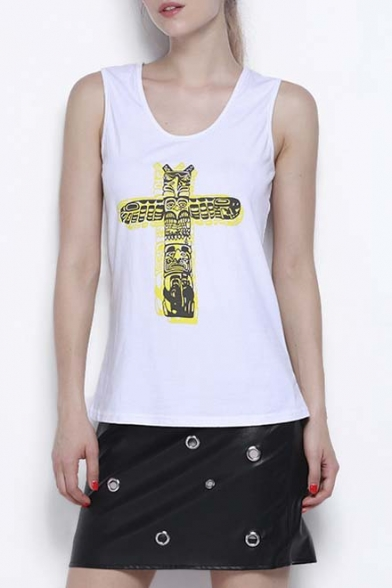 Summer Fashion Scoop Neck Sleeveless Graphic Tank Top