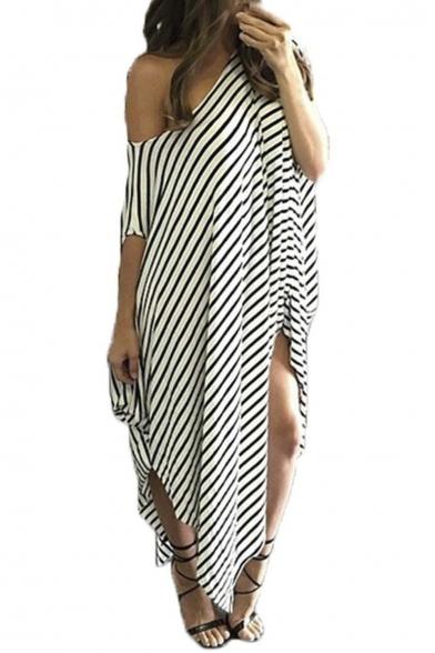 Women s One Off Shoulder Striped Irregular Long Maxi Dress Loose Kaftan e41ef4ed44