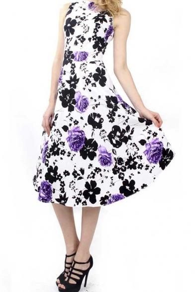 cc0e1bcfd2aa ... Dreagal Vintage 1950 s Floral Spring Garden Party Picnic Dress Party  Cocktail Dress ...