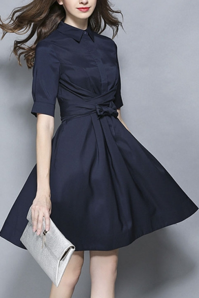 Women's Collar Tie Waist Plain Half Length Shirt Dress