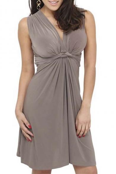 Women's Sleeveless V-neck Summer Sun Dress