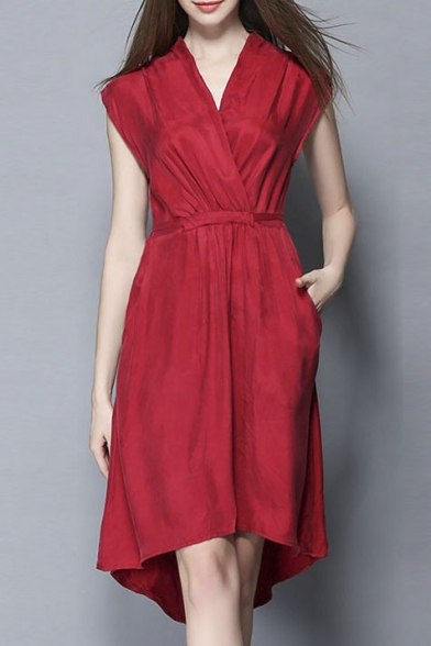 Women's V-neck Tie Waist Plain Ruched Midi Dress