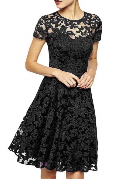 Women Round Neck Short Sleeve Pleated Lace Slim Dress