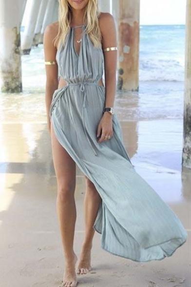 Women's Blue Cut Away Open Waist Split Holiday Beach Maxi Sundress