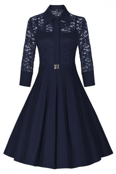Women's Vintage 1950s Style 3/4 Sleeve Black Lace Flare A-line Dress
