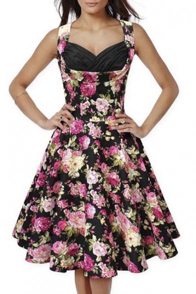 50s60s Vintage Floral Print Divinity Rockabilly Swing Retro Dresses