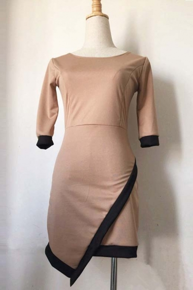 Round Neck Half Sleeve Asymetrical Hem Bodycon Dress