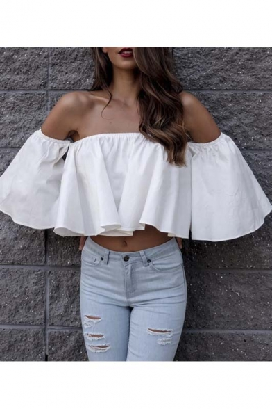 Sexy Off The Shoulder Bell Sleeve Loose Ruffle Hem Crop Blouse&Top