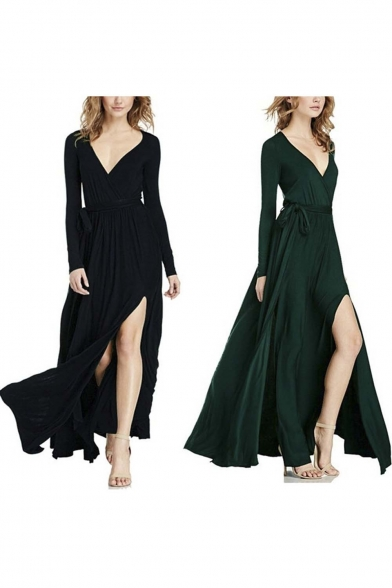 Women's V With Belt Neck Sleeve Long Deep Maxi Split Dress Party r5ZqrxOw