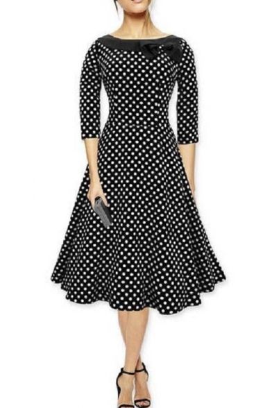 Vintage Fit & Flare Midi Dress-Women 1950s Vintage Knee Length Party Cocktail Dress