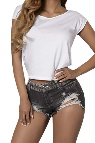 Women's Pure Mid Waist Ripped Denim Shorts Short Jeans