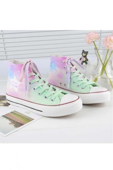 Popular Girls Gradient Canvas Flat Shoes