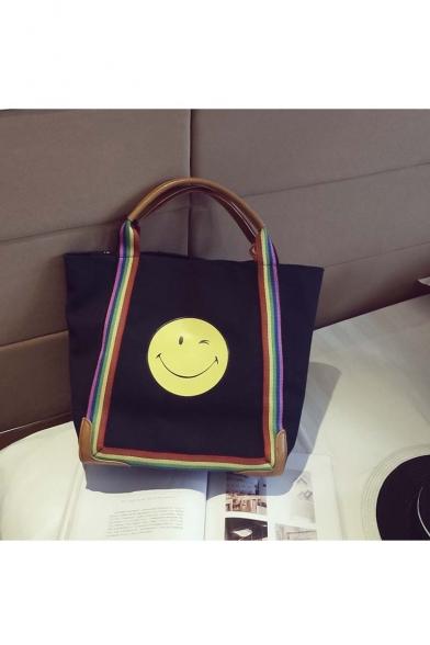 New Design Color Block Delicate Women Smile Face Pattern Shoulder Bag Casual Bag